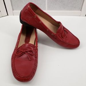 VANELI Red Leather Driving Moccasins Loafers